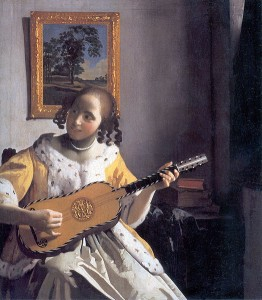 Illustration la joueuse de guitare de Jan Vermeer van Delft